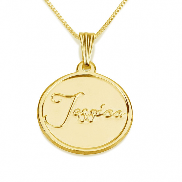 Engraved Coin Name Necklace