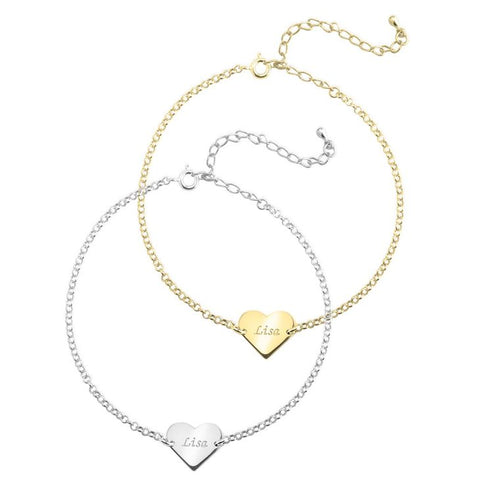 Image of Engraved Heart Anklet