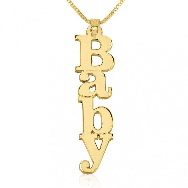 Vertical Block Letter Name Necklace