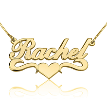 Load image into Gallery viewer, FANCY PRINT NAME NECKLACE W/ MIDDLE HEART