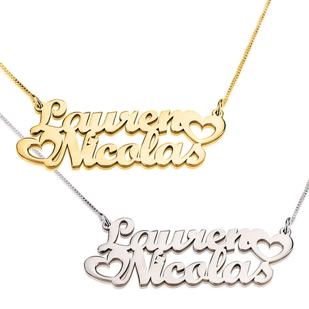 Two Fancy Print Names w/ Two Hearts Necklace