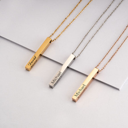 3D BAR NAME NECKLACE