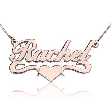 Fancy Print Name Necklace w/ Middle Heart