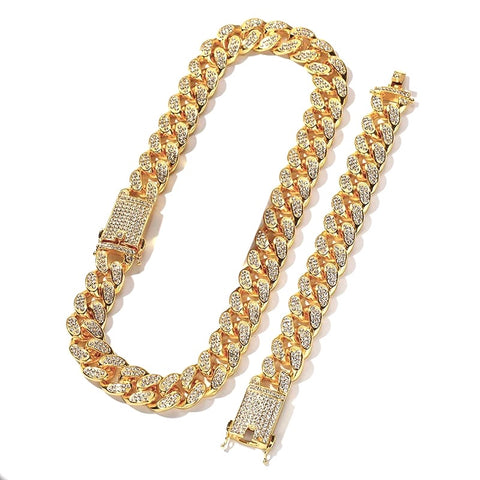 Image of Unisex Cuban Link Chain & Bracelet Set