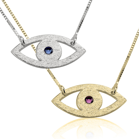 Evil Eye Necklace w/ Birthstone