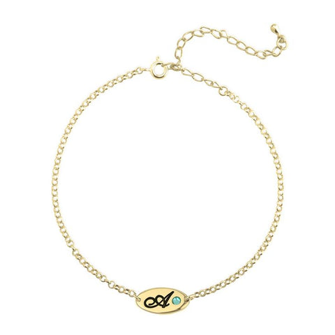 Image of Engraved Initial w/ Birthstone Anklet