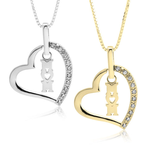 Image of Mom Heart w/ CZ Stones