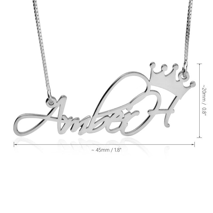 SCRIPT NAME W/ CROWN NECKLACE