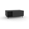 Edge Rectangular Coffee Table - (Back View) in Black, with Black shelving and drawer fronts