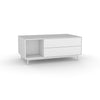 Edge Rectangular Coffee Table - (Back View) in White, with White shelving and drawer fronts