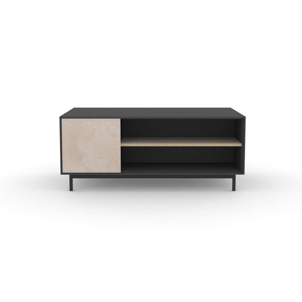 Edge Rectangular Coffee Table - (Front View) in Black, with Birch shelving and drawer fronts