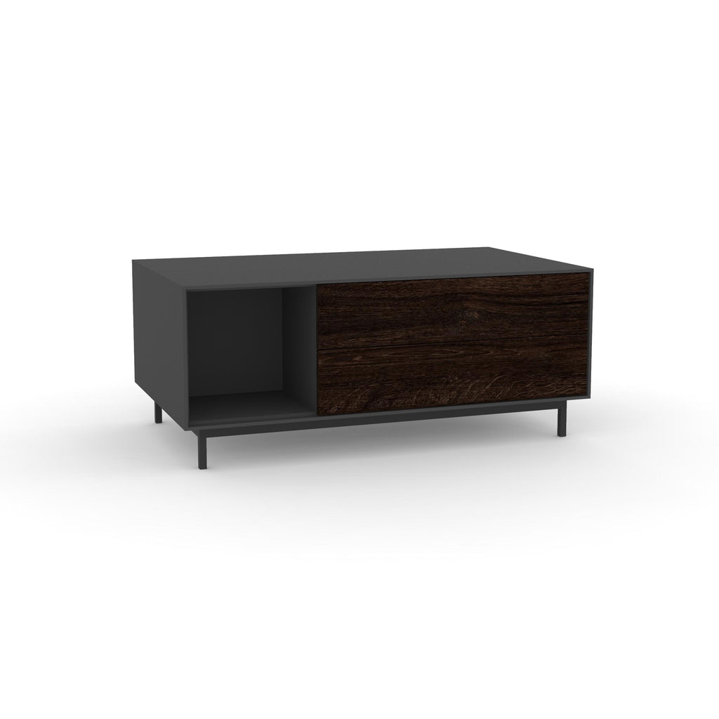 Edge Rectangular Coffee Table - (Back View) in Black, with Black Oak shelving and drawer fronts