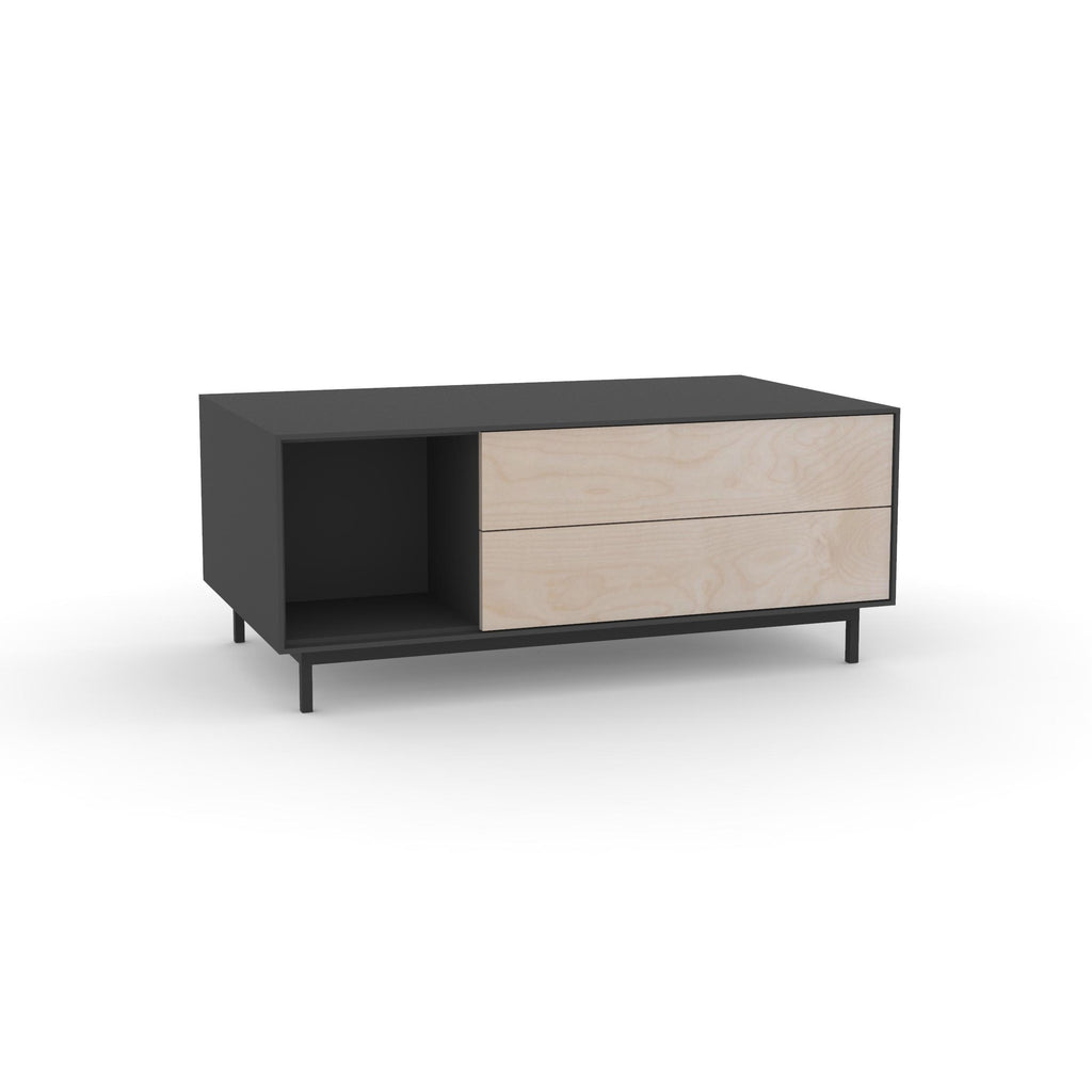 Edge Rectangular Coffee Table - (Back View) in Black, with Birch shelving and drawer fronts