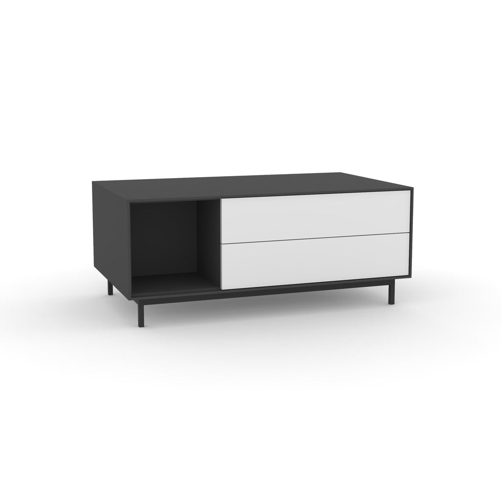 Edge Rectangular Coffee Table - (Back View) in Black, with White shelving and drawer fronts