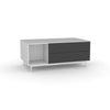 Edge Rectangular Coffee Table - (Back View) in White, with Black shelving and drawer fronts