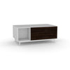 Edge Rectangular Coffee Table - (Back View) in White, with Black Oak shelving and drawer fronts