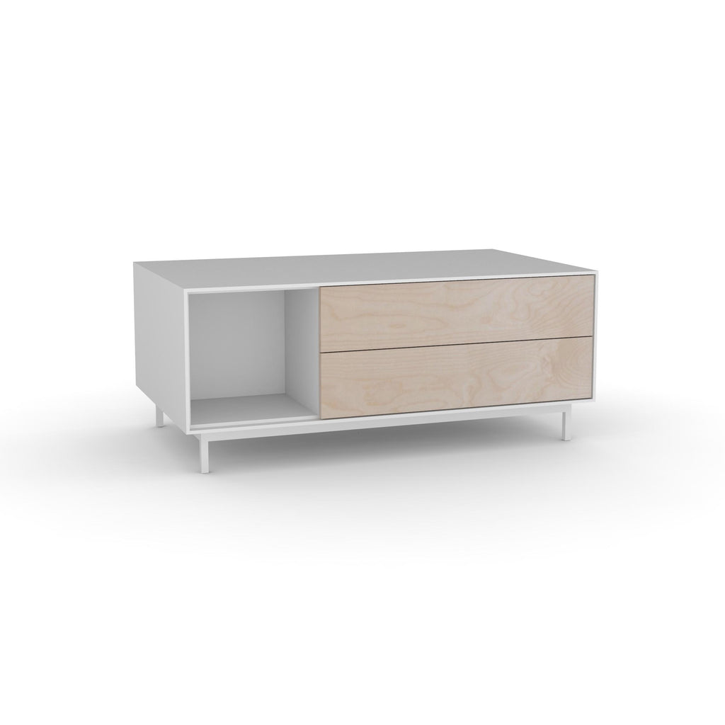 Edge Rectangular Coffee Table - (Back View) in White, with Birch shelving and drawer fronts