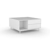 Edge Square Coffee Table - (Back View) in White, with White shelving and drawer fronts