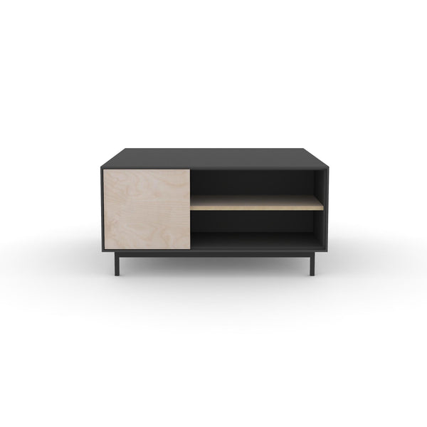 Edge Square Coffee Table - (Front View) in Black, with Birch shelving and drawer fronts