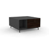 Edge Square Coffee Table - (Back View) in Black, with Black Oak shelving and drawer fronts