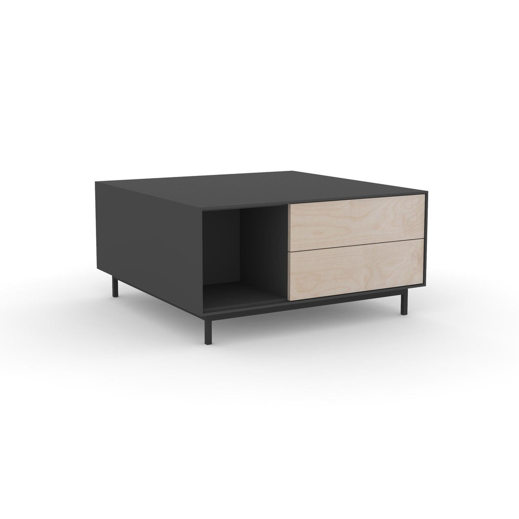 Edge Square Coffee Table - (Back View) in Black, with Birch shelving and drawer fronts