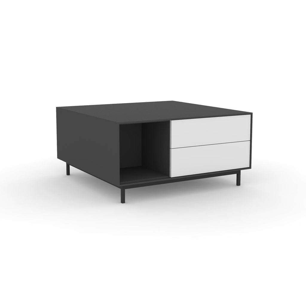 Edge Square Coffee Table - (Back View) in Black, with White shelving and drawer fronts