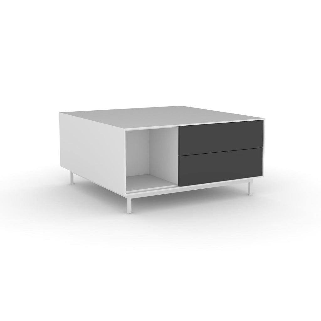 Edge Square Coffee Table - (Back View) in White, with Black shelving and drawer fronts