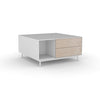 Edge Square Coffee Table - (Back View) in White, with Birch shelving and drawer fronts
