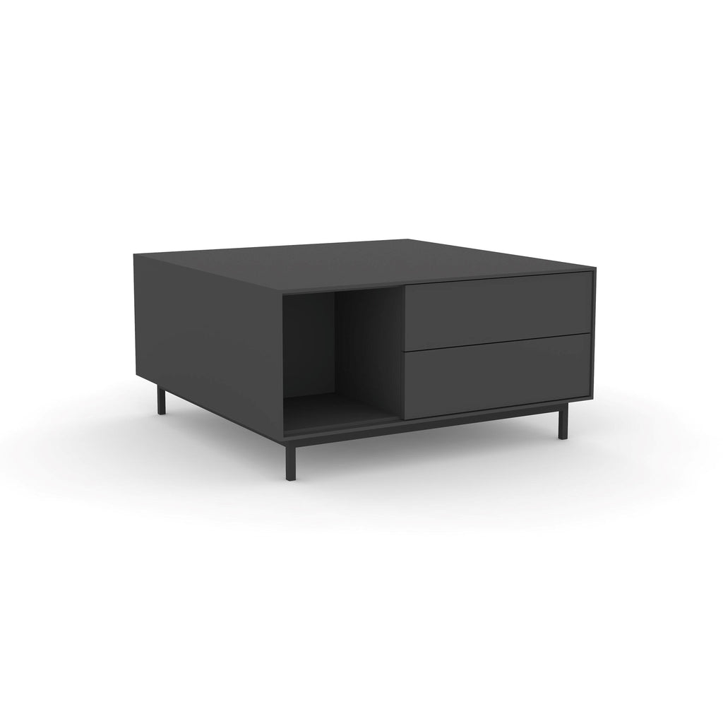Edge Square Coffee Table - (Back View) in Black, with Black shelving and drawer fronts