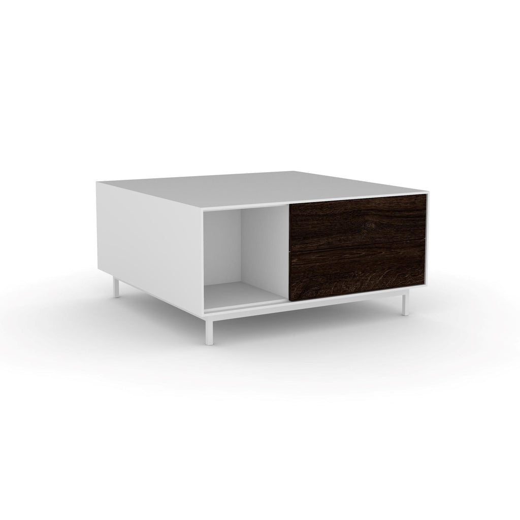 Edge Square Coffee Table - (Back View) in White, with Black Oak shelving and drawer fronts