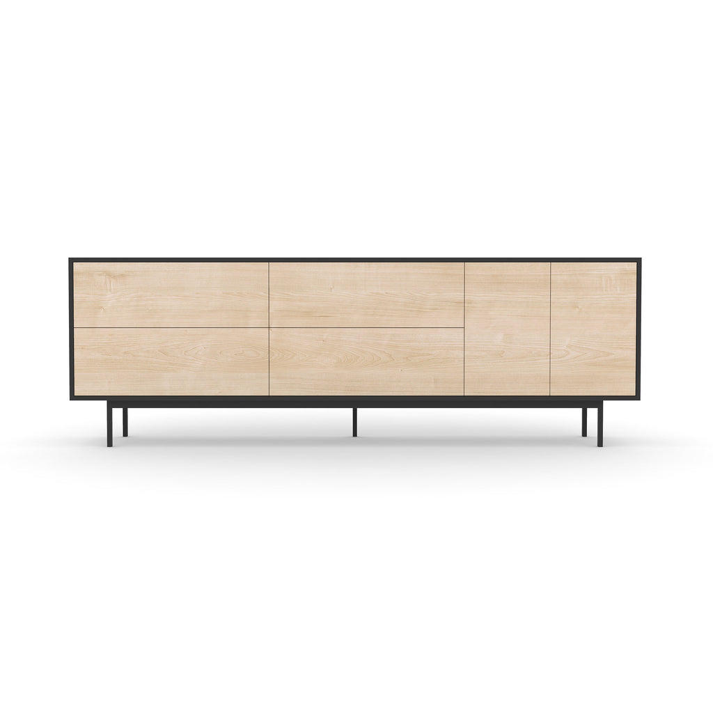 Studio Large Credenza, black carcass and leg, washed maple fronts