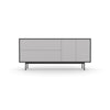 Studio Small Credenza, black carcass and leg, fog fronts