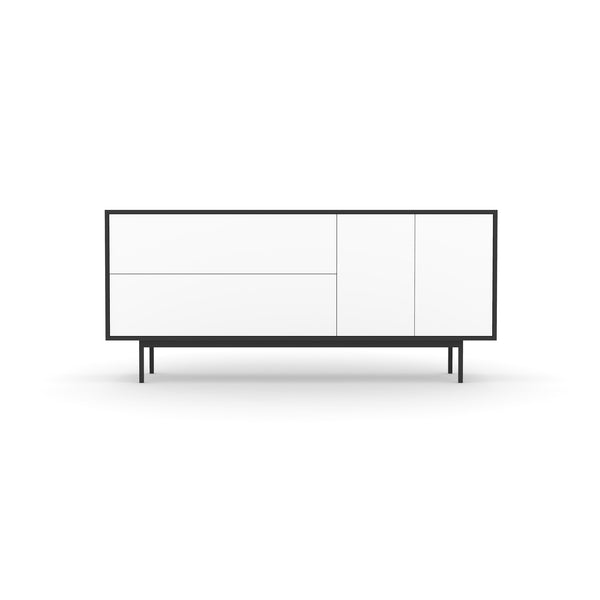 Studio Small Credenza, black carcass and leg, white fronts