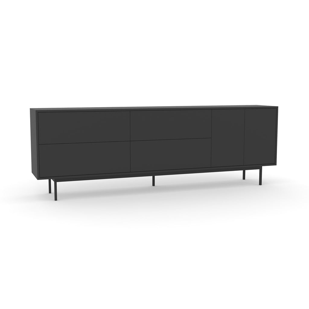 Studio Large Credenza, black carcass and leg, black fronts