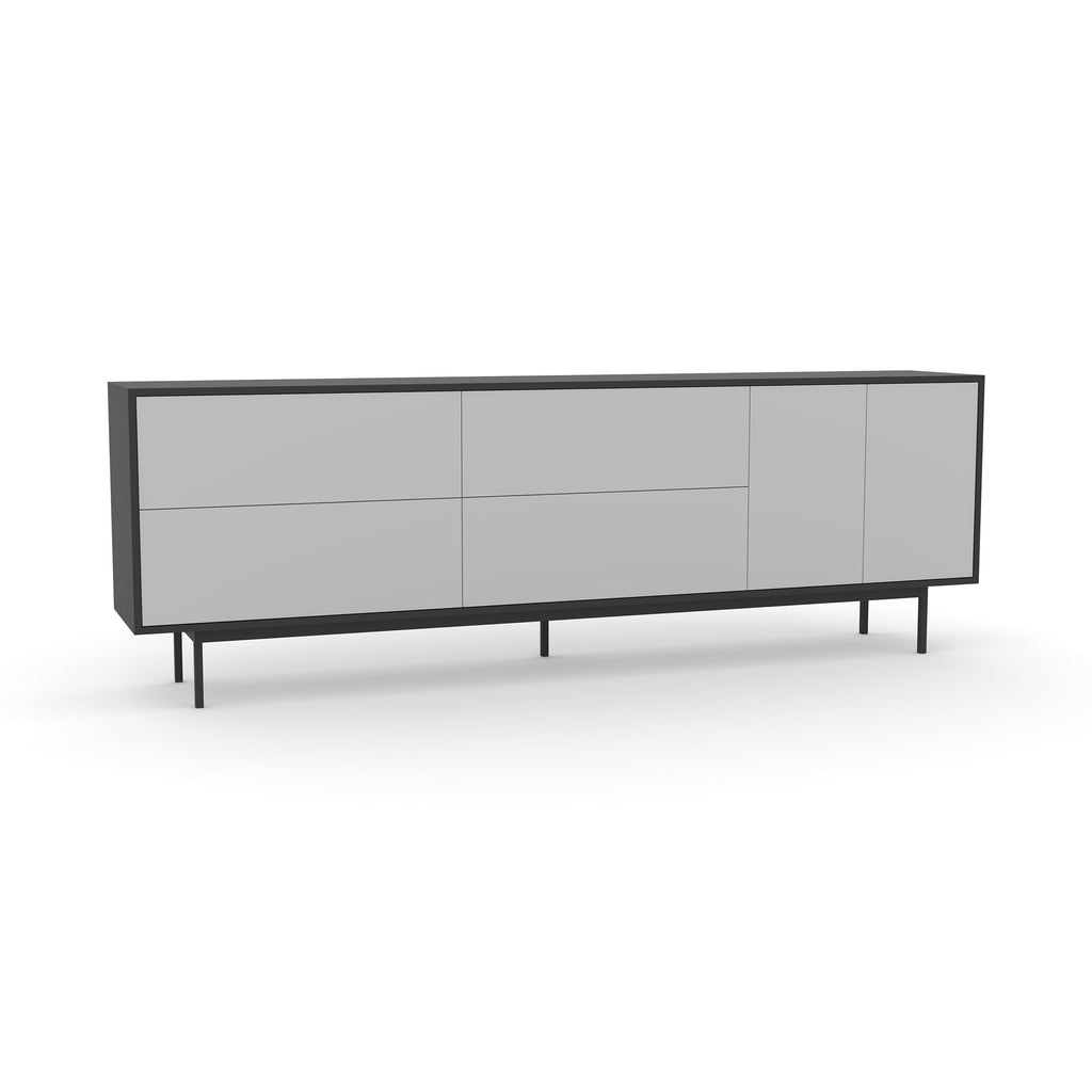 Studio Large Credenza, black carcass and leg, fog fronts
