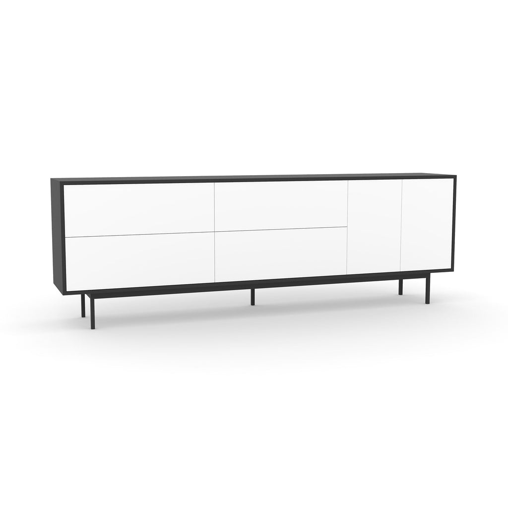 Studio Large Credenza, black carcass and leg, white fronts