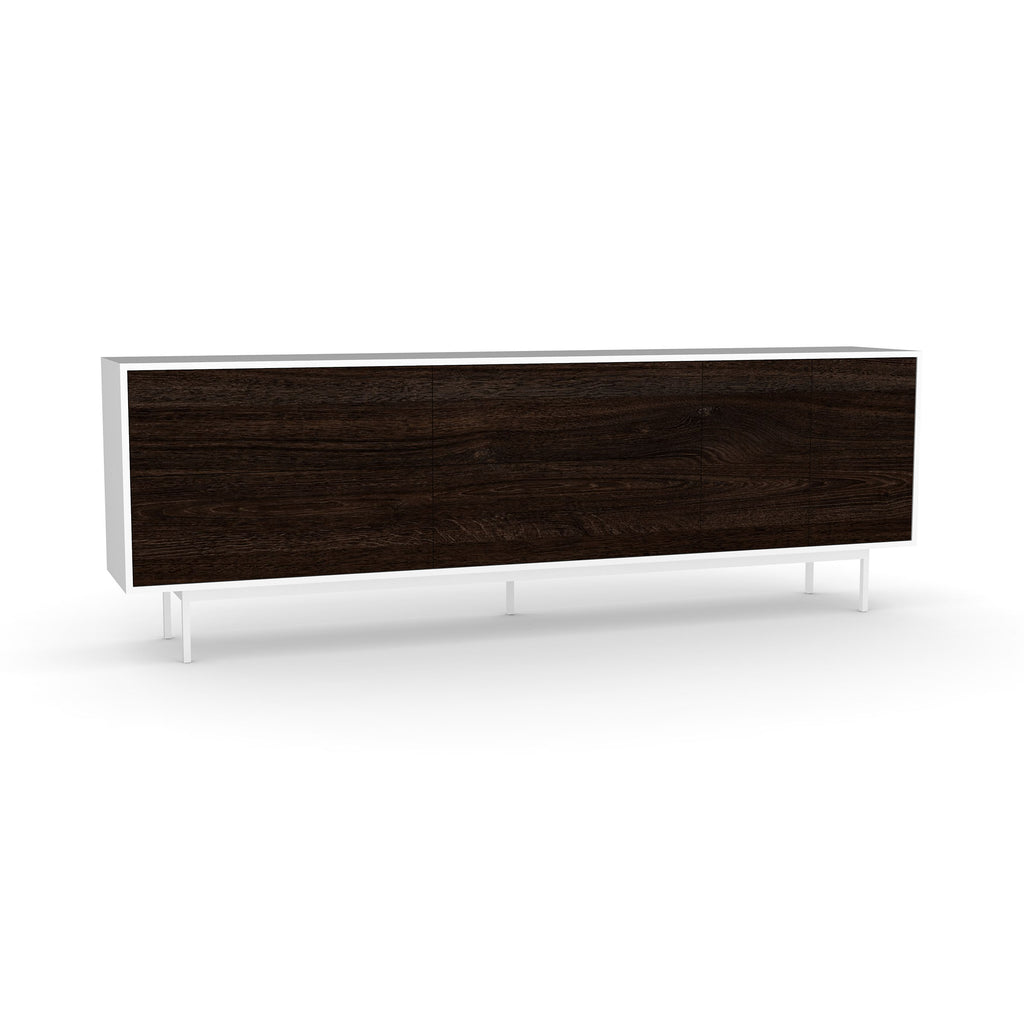 Studio Large Credenza, white carcass and leg, black oak fronts