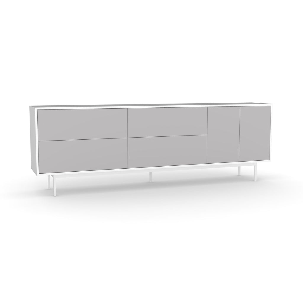 Studio Large Credenza, white carcass and leg, fog fronts