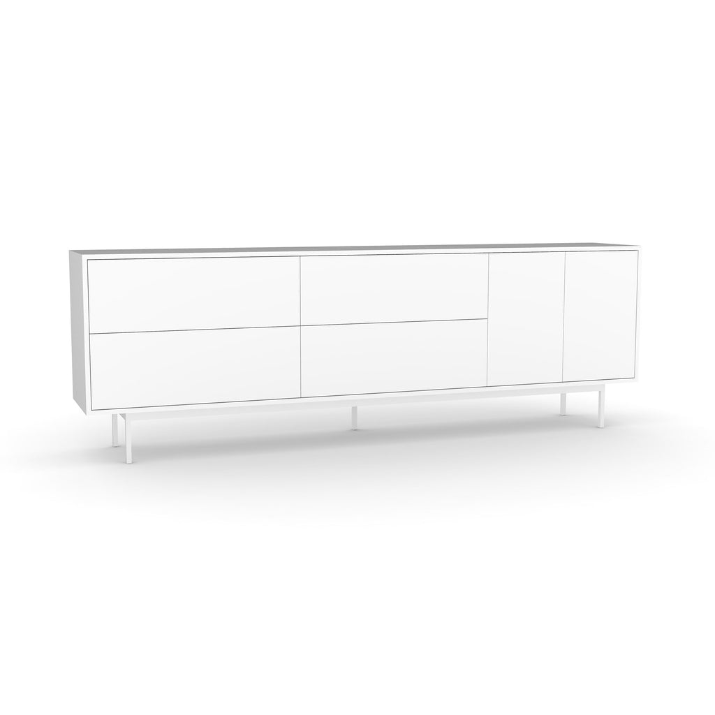 Studio Large Credenza, white carcass and leg, white fronts