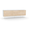 Studio Large Credenza, white carcass and leg, washed maple fronts