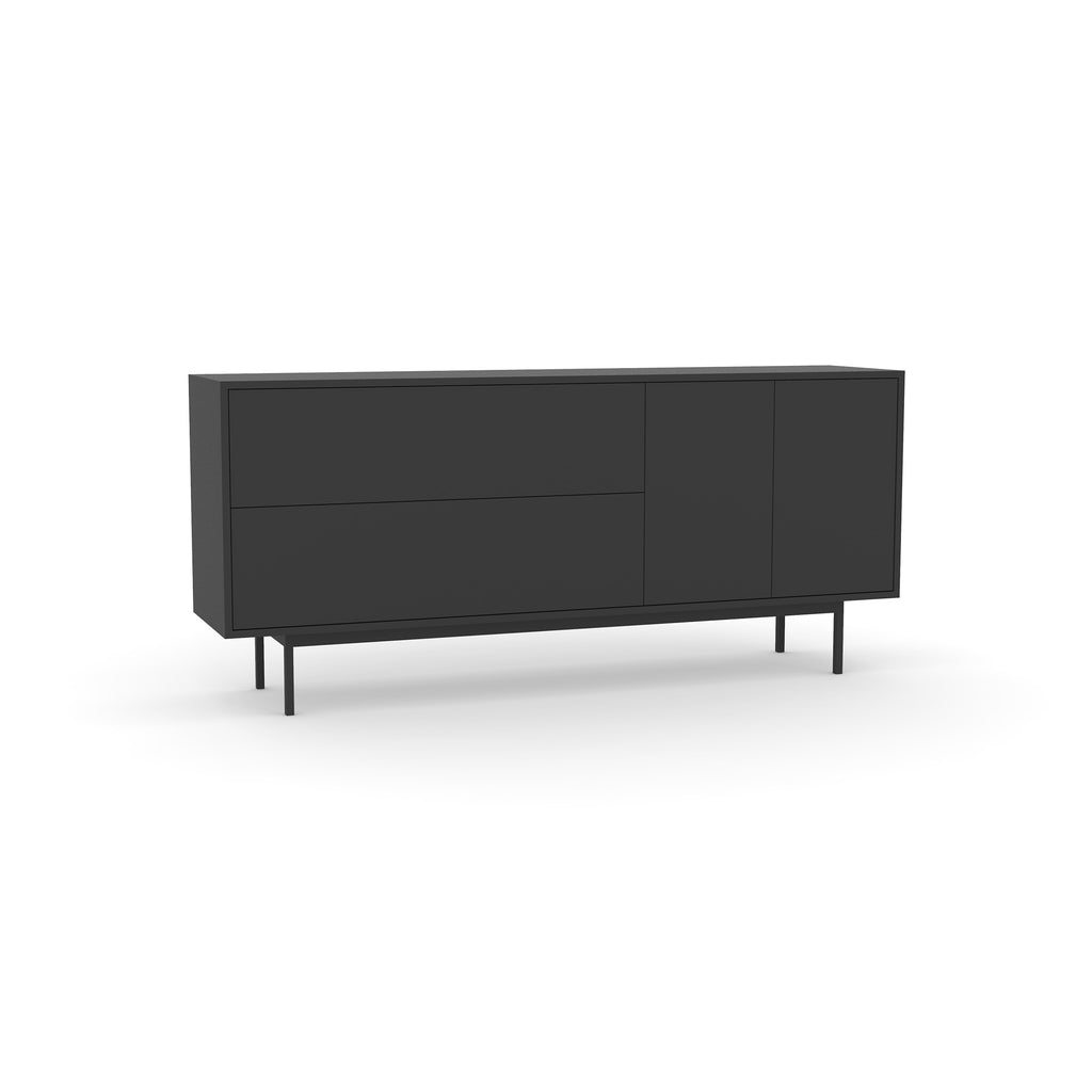 Studio Small Credenza, black carcass and leg, black fronts