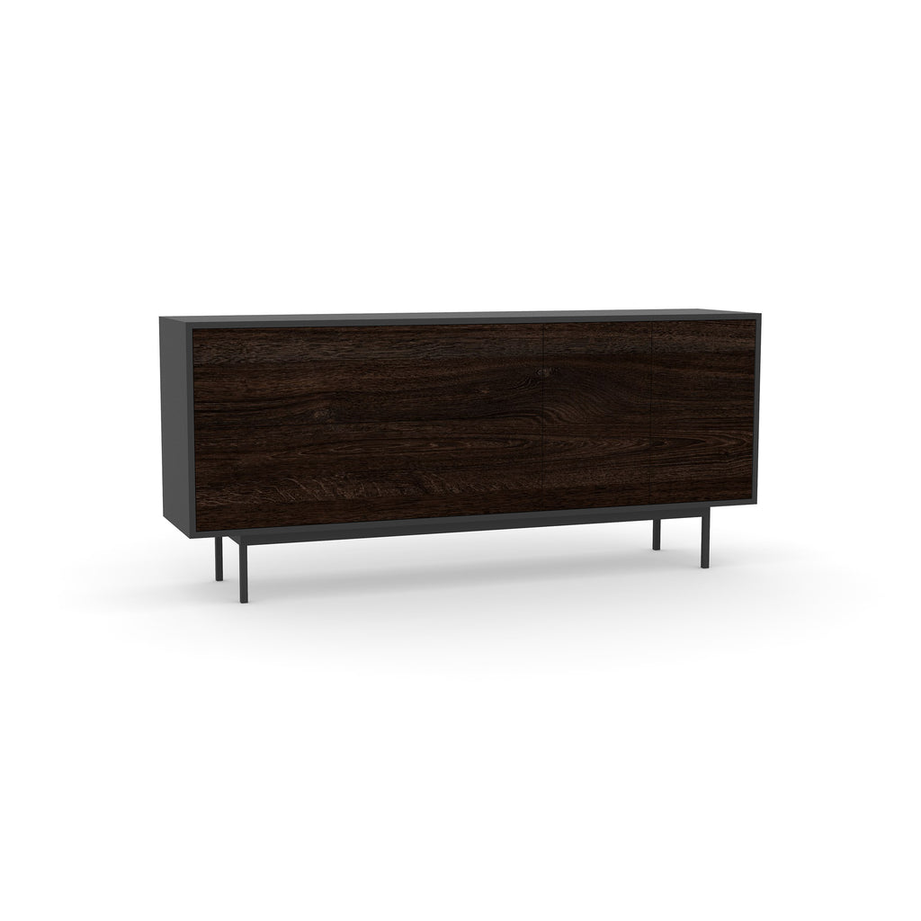 Studio Small Credenza, black carcass and leg, black oak fronts
