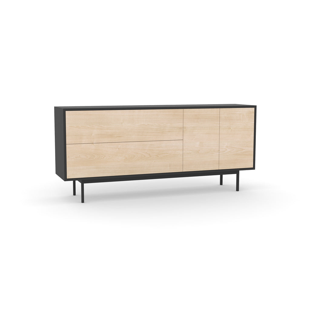Studio Small Credenza, black carcass and leg, washed maple fronts
