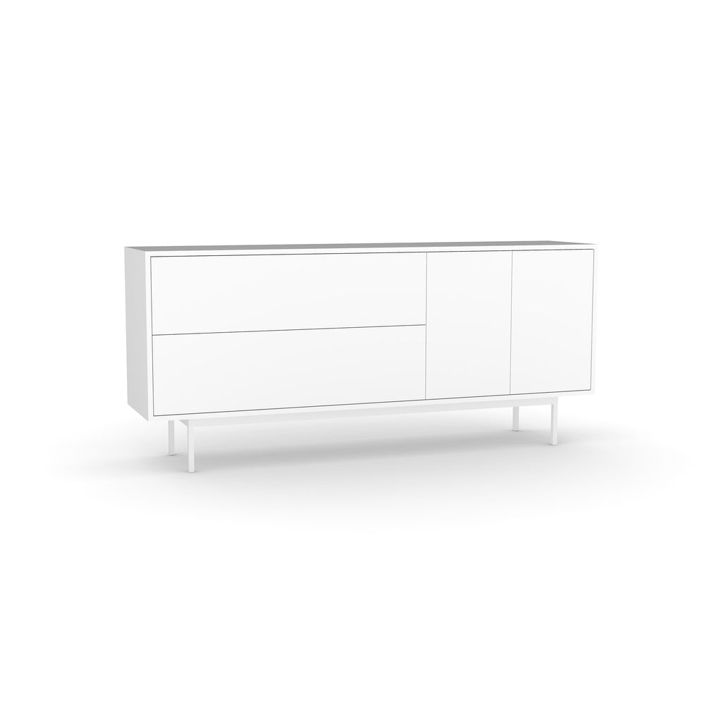 Studio Small Credenza, white carcass and leg, white fronts