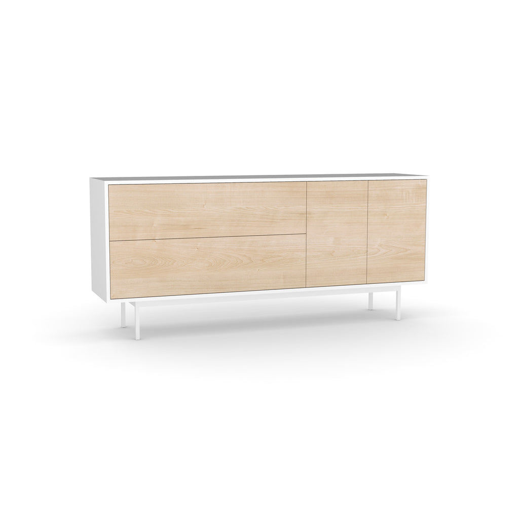 Studio Small Credenza, white carcass and leg, washed maple fronts