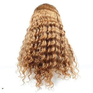 BRAZILIAN REMY Honey Blonde 250% Density Lace Front Human Hair Wigs Color #27