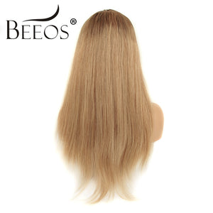 BRAZILIAN STRAIGHT REMY Honey Blonde Lace Wigs with Baby Hair