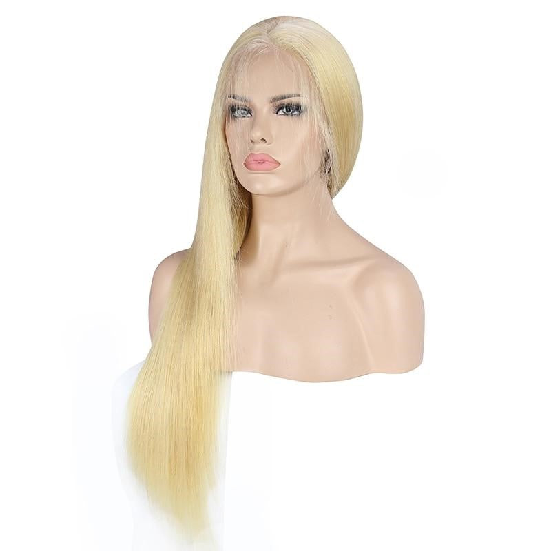 130% Density Lace Front Human Hair Wigs Remy 613 Straight Pre Plucked Brazilian