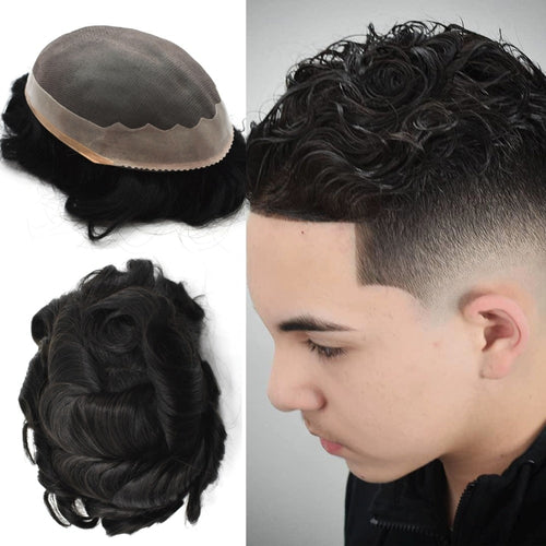 Durable Remy Lace PU Men Wig Hair System
