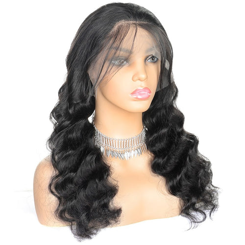 Brazilian Loose Deep Wave  Pre Plucked 4x4 Lace Closure Wigs For Black Women